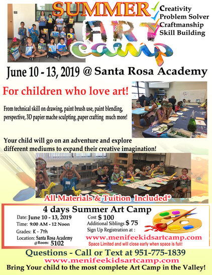 Kids art classes summer art camp by Ines Miller Menifee Artist